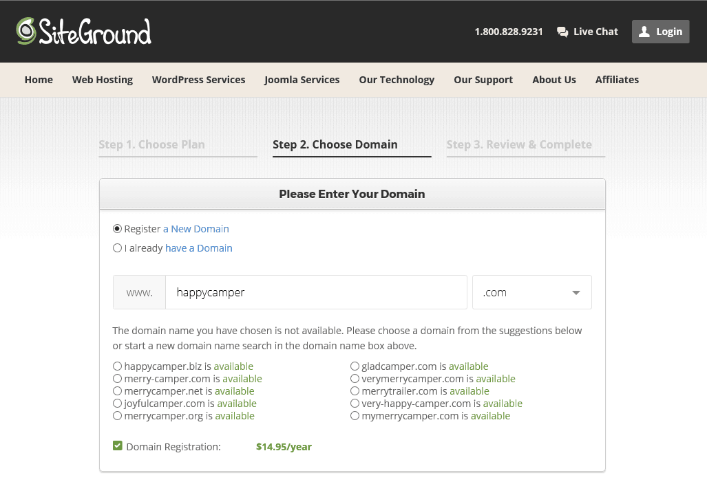 SiteGround domain name suggestions