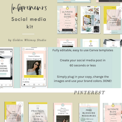 social media template kit canva infopreneur instagram pinterest facbook social media realworkfromhomejobs