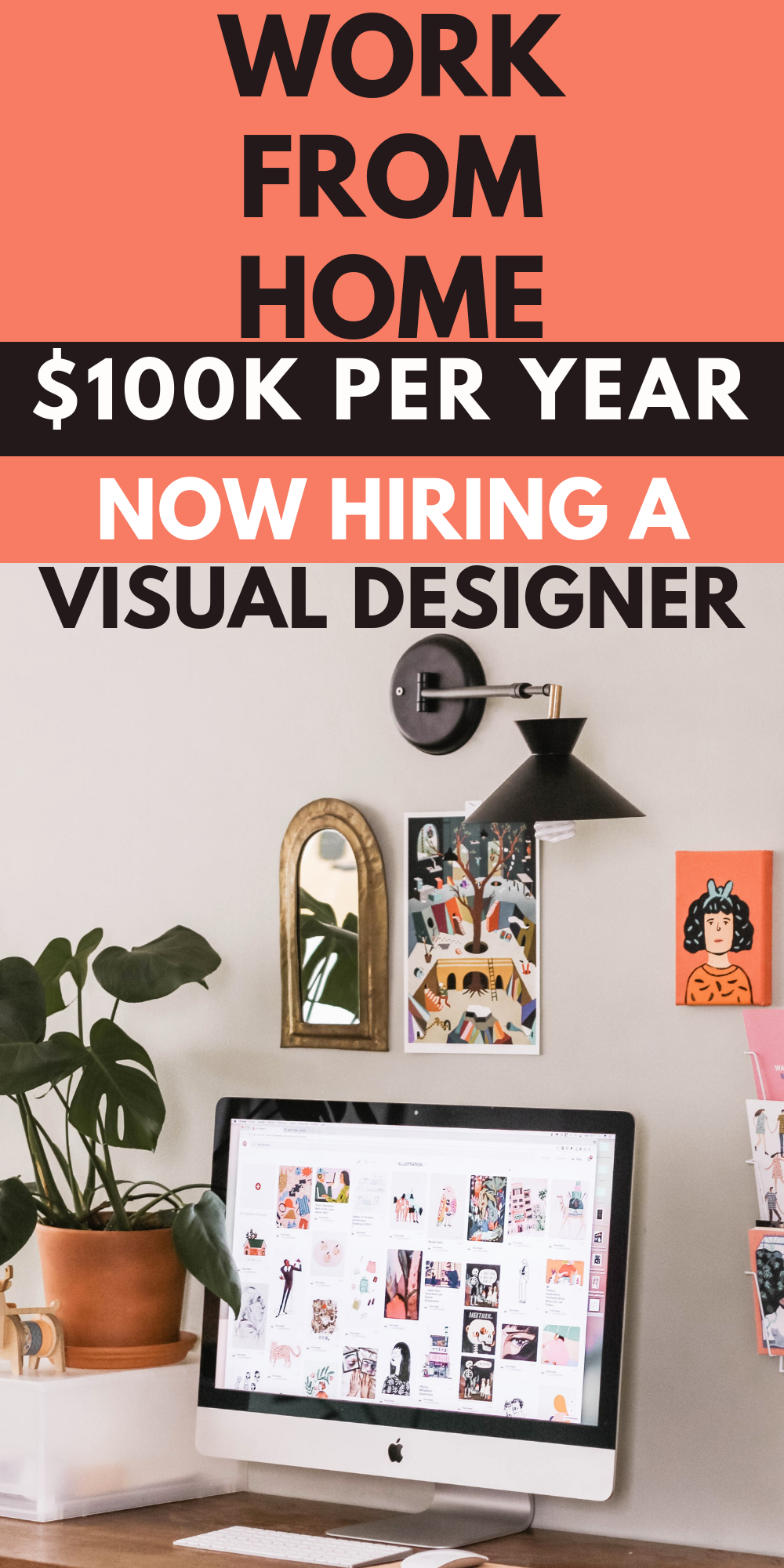 $70 - $100k per year We're recruiting a creative Visual Designer to help own all our digital and offline marketing efforts. #workfromhome #remotework #makemoneonline #designer